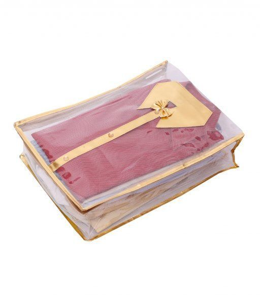 Kuber Industries Net Transparent Shirt Cover - Golden