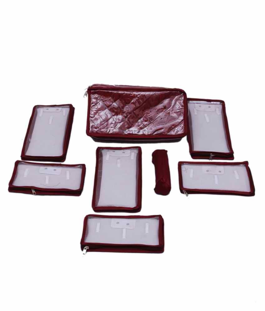 Quilted Satin With transparent lamination locker Jewellery Kit 6 Pouch 1 Bangle