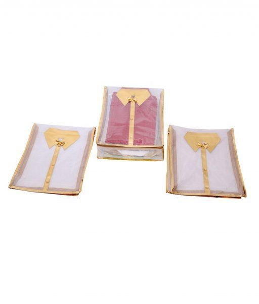 Kuber Industries Net Transparent Shirt Cover Set of 3 Pcs - Golden