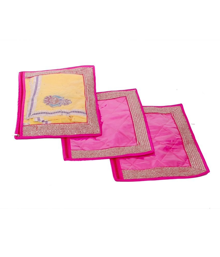 Kuber Industries Single Packing Saree Cover Set of 3 Pcs (Designer Lace)