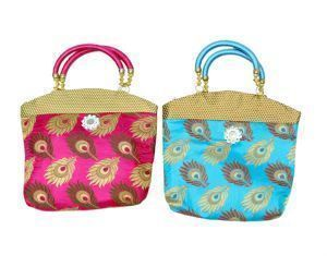 Handbag in stylish design 2 Pcs Combo in heavy brocade