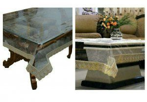 Kuber Industries Combo of Dining & Center Table Cover In Transparent (Golden Lace)