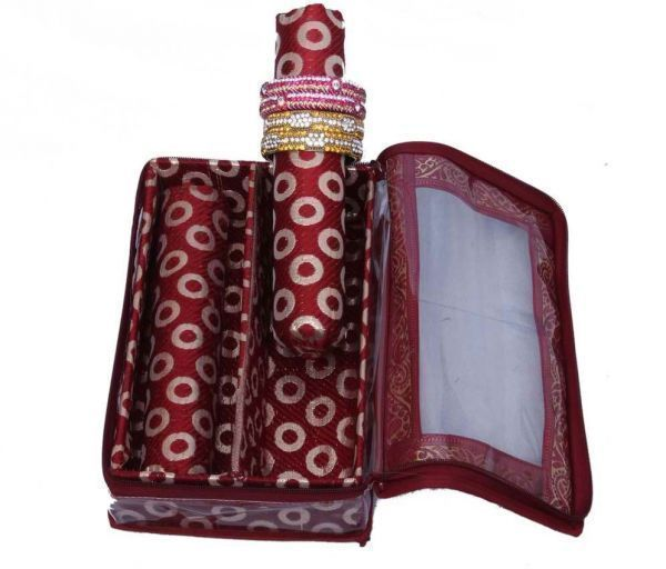 Bangle Box 2 Rod in Maroon Brocade