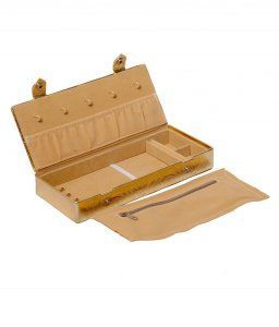 Kuber Industries Jewellery Box, Make Up Box, Cosmetic Box in Coated Hard Board (Golden)
