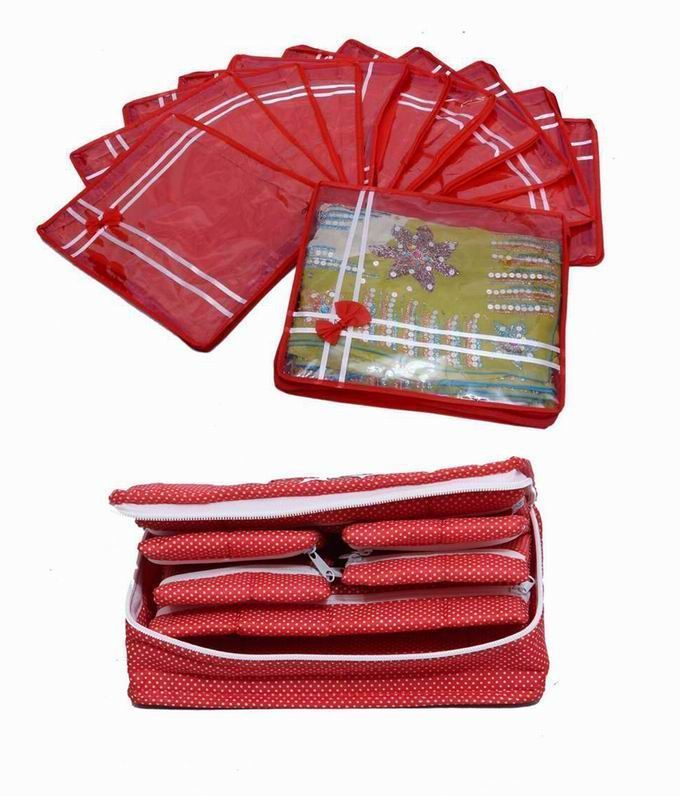 Special Combo, 12 pcs of Bow Saree Cover, Jewellery Kit 1 Big