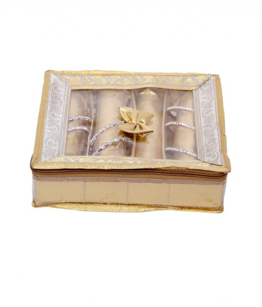 Kuber Industries 4 Rod Brocade Bangle box (3 cm x 27 cm x 36 cm, 4 Rods, Golden)
