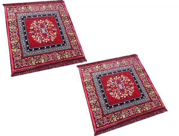 Kuber Industries Red Pooja Aasan, Mat Set of 2 Pcs  (2 Ft X 2 Ft)