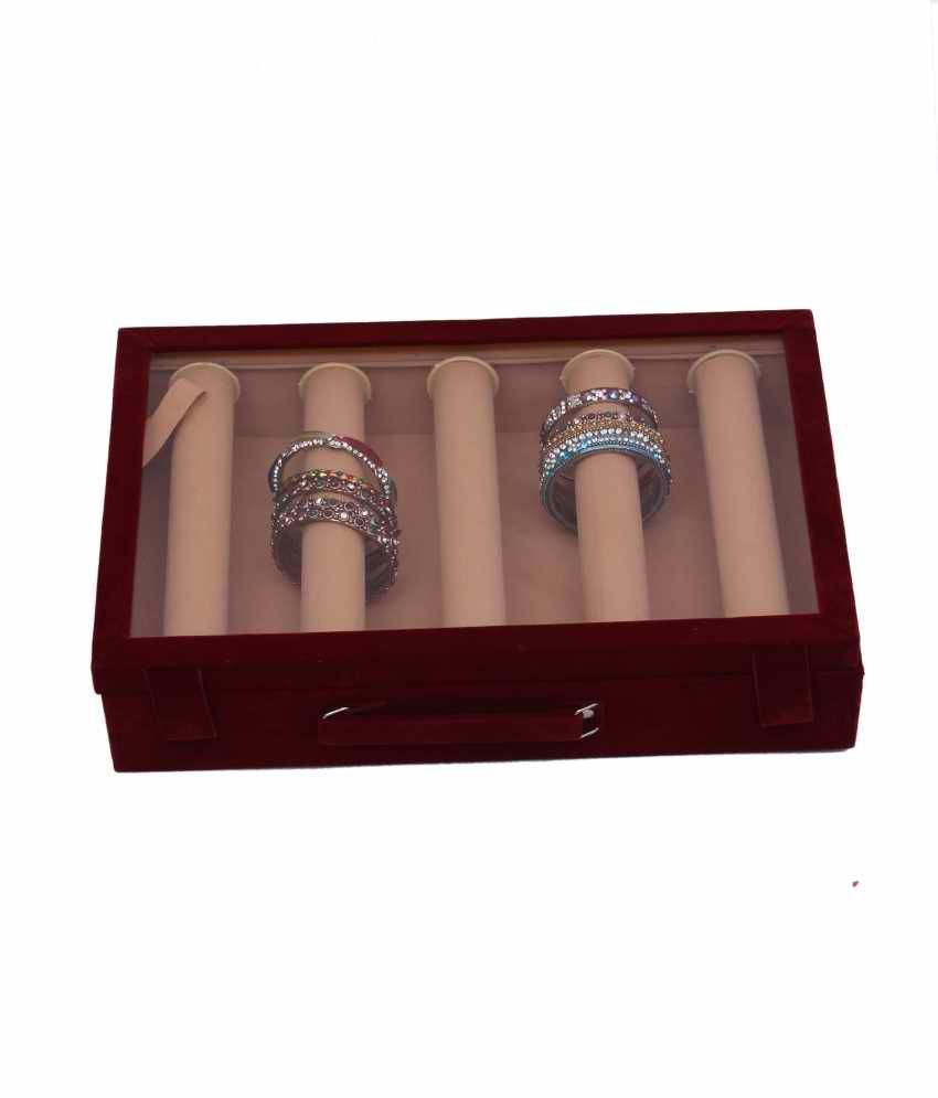Exclusive Five Roll Bangle In Hard Board in Velvet & Ring , Earing Box