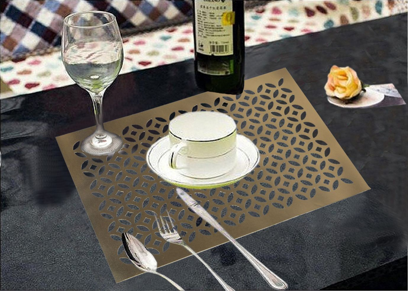 Kuber Industries Dining Table Placemats Set of 6 Pcs In Thick Imported Waterproof Fabric (Golden) Exclusive Product