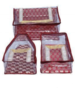 Brocade Saree Blouse & peticot Cover Set For Wedding