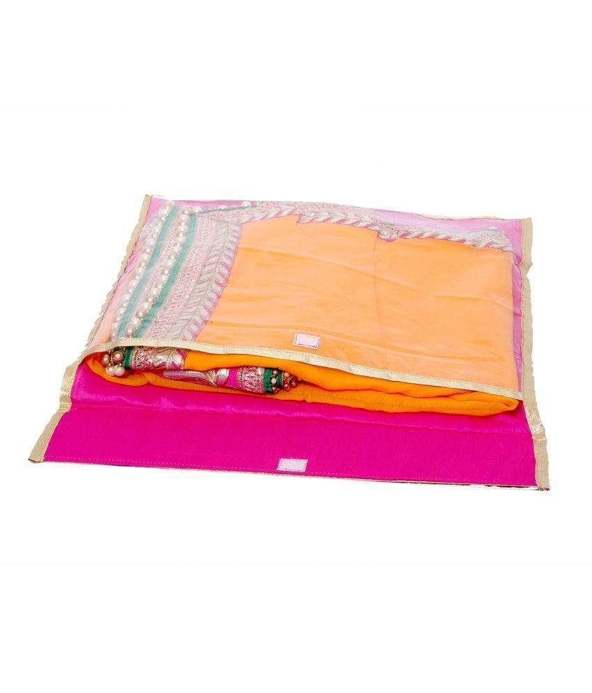Kuber Industries Flip Saree cover with Designer Lace set of 10 Pcs