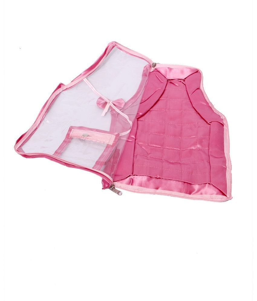Kuber Industries Blouse Cover in Quilted Satin Fabric (Pink)