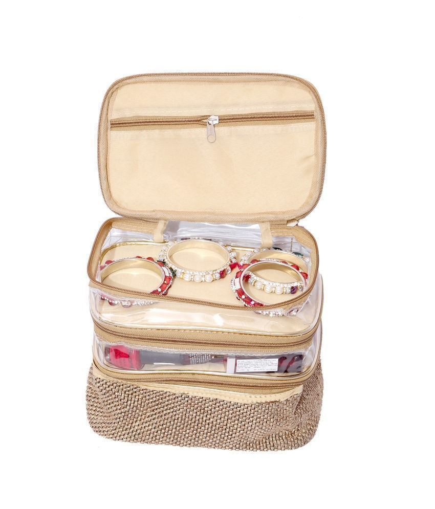 Kuber Industries Make Up Kit, Vanity Kit, Cosmetic Kit, Jewellery Kit (Jute Design)