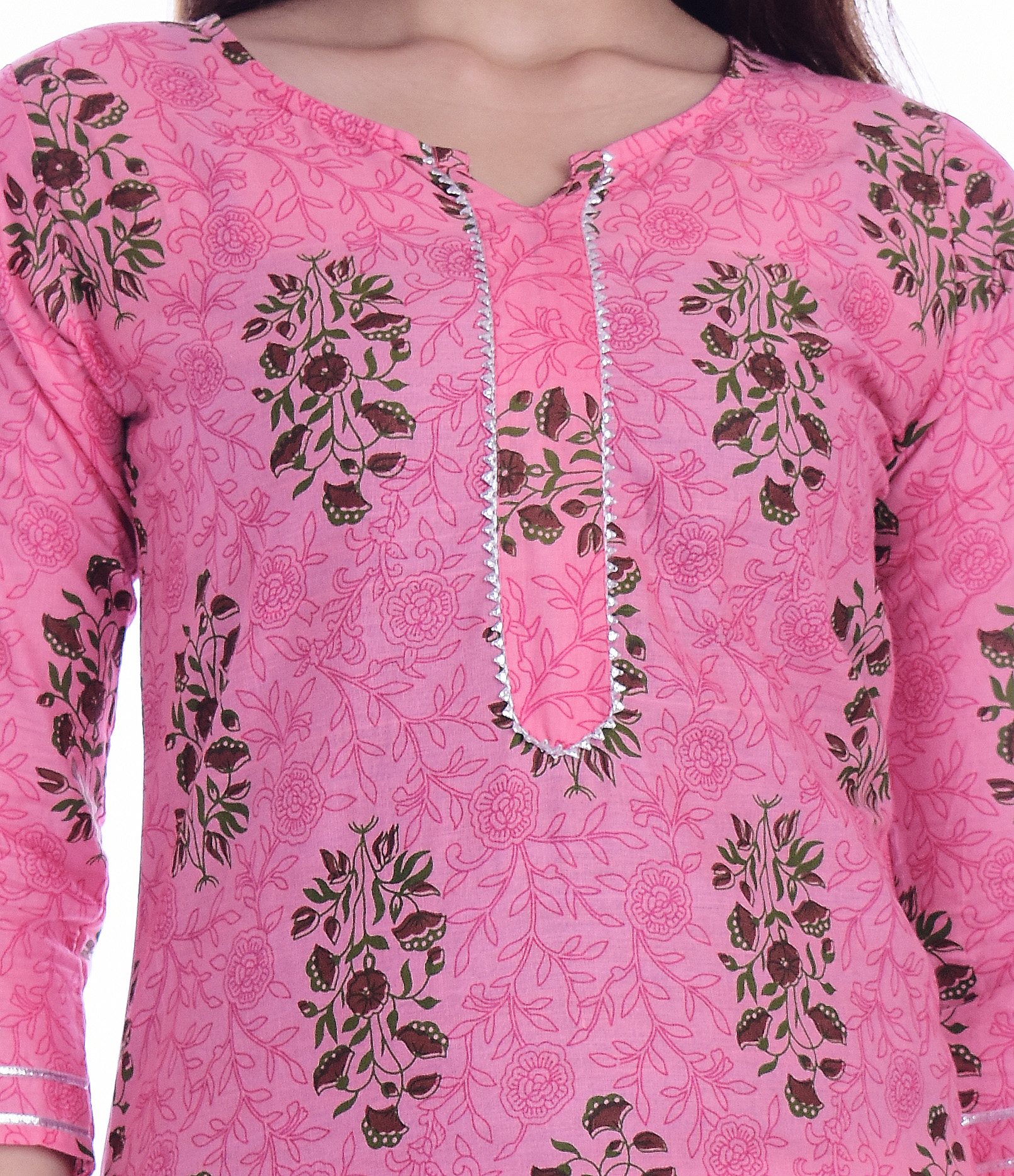 Kuber Industries Women's Floral Design Straight Kurta (pink)