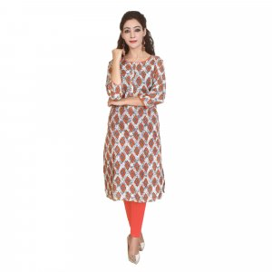 Kuber Industries Women Printed Straight Kurta  (Orange)