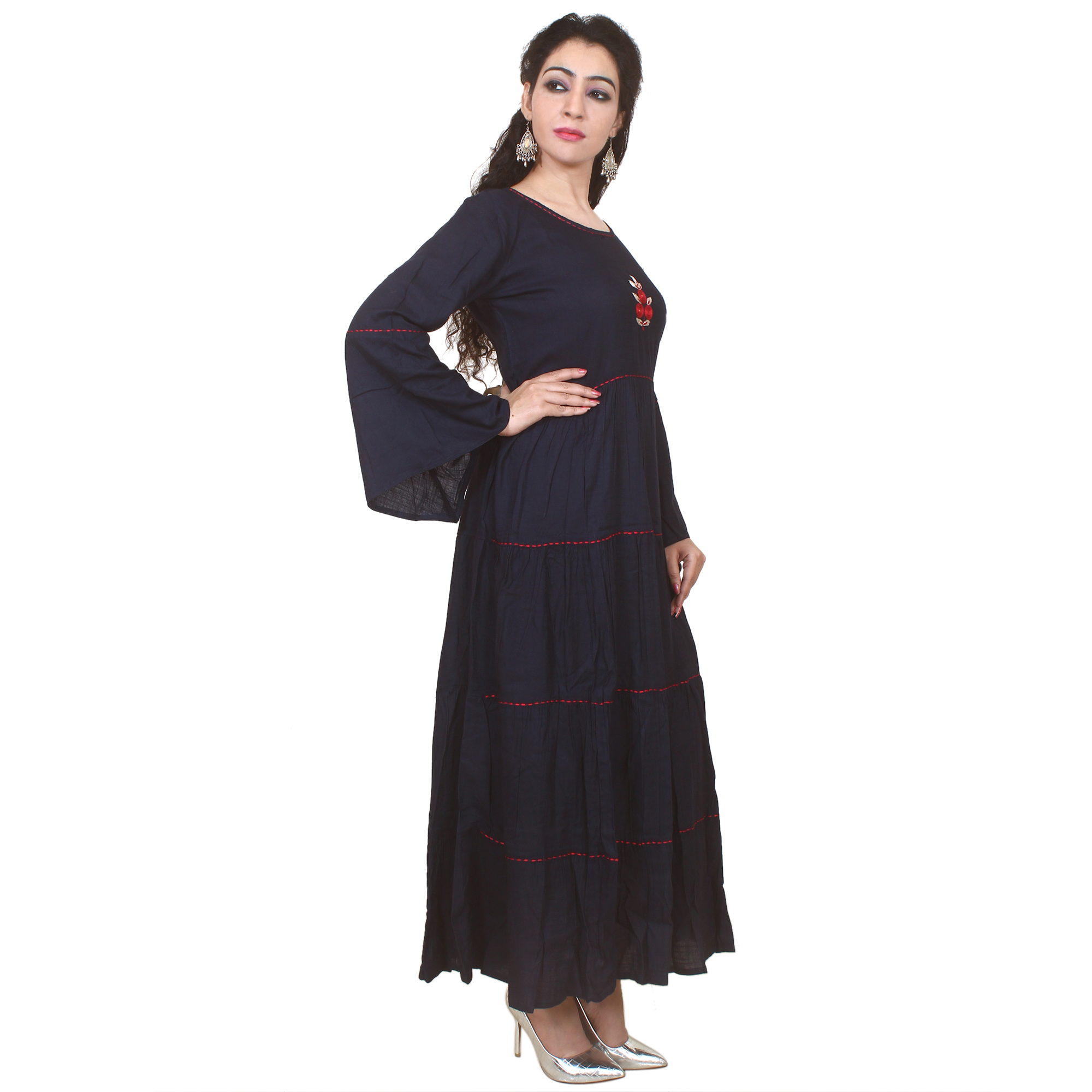 Kuber Industries Women Embroidered Anarkali Kurta  (Dark Blue)