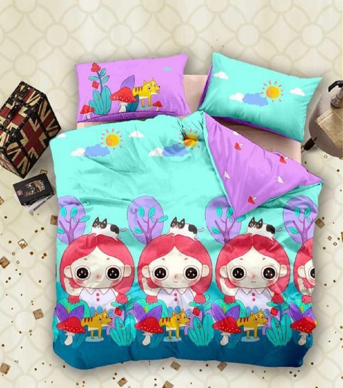 """Kuber Industries™ Double Bedsheet with 2 Pillow Covers King Size Exclusive Cartoon Print- Imported Fabric (KW04) """
